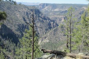 View forward (and down!) into the Middle Fork of the Gila River