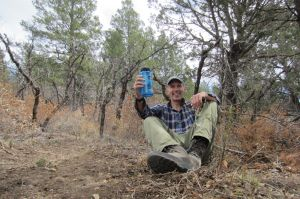 37 me along trail - bottle salute