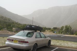 31 Car at trailhead in afternoon duststorm