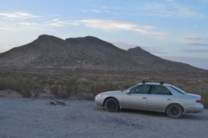 The mighty Camry, parked at trailhead on the north end of the approach ridge
