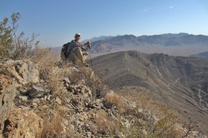 Author on Bishops Cap, Organ Mountains in background