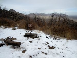Midpoint and primitive campsite, with view to Tularosa basin