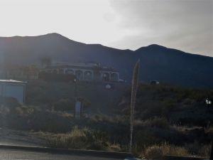 Dawn silhouette of Ortega Peak (left) and Hershberger Peak (right) from Alamogordo