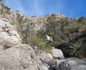 Steep and bouldery entrance into N4 (Slab Canyon)