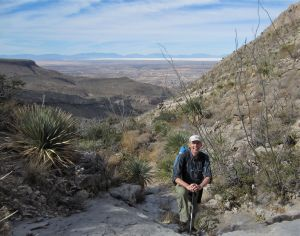 Author in Slab Canyon with the Tularosa Basin in the background