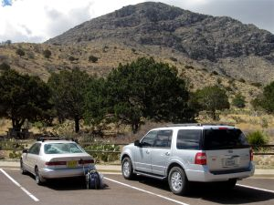 The mighty Camry at the trailhead. Above the cars rises the easterly knob of the eastern Guadalupe ridge