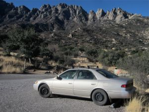 04 The Mighty Camry at foot of Aguirre Springs Rib