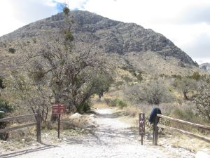 Trailhead and view of eastern knob.