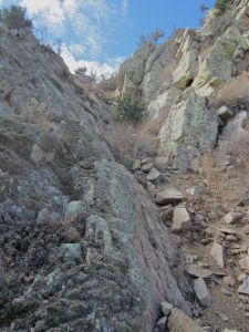 Gully that leads to the top of the bump at the crest of Aguirre Springs Rib.