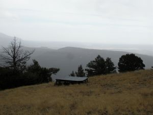 Inclement weather obscuring the Tularosa Basin from Carrizo Summit