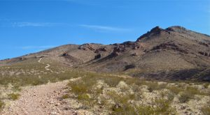 Picacho Trail (jeep trail) as it departs the arroyo for the peak.