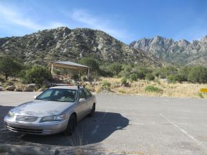 02 Camry in front of rubbly foothill