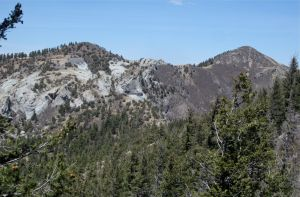 White cliff face and true summit (right) of North Baldy