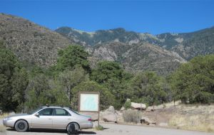 The mighty Camry, parked at trailhead below the Sierra Blanca Mountains crest