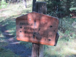Sign at confluence of Aspen and Bonito Creek.