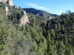 Spires of stubborn stone and views east to the headwaters of Springtime Canyon.