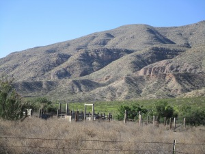 Corral on the west side of the Rio Grande