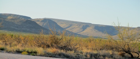 View into Horse Canyon and distant North Las Uvas Mountain (the slope on the right side of the photo) from US-26