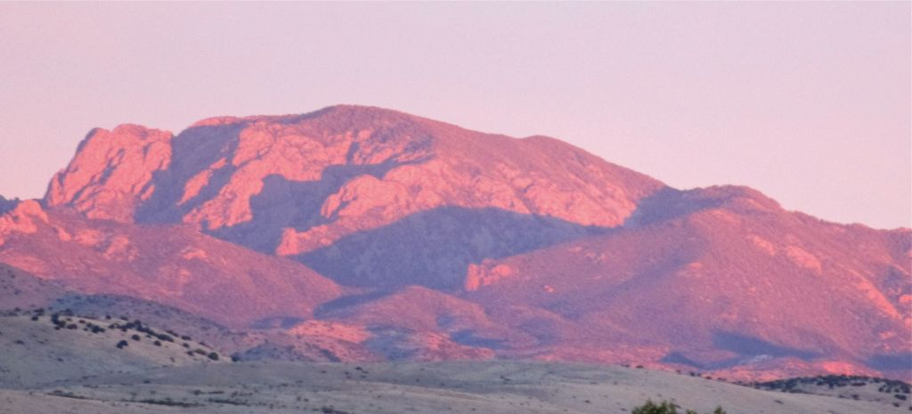 Vicks Peak seen from FR-225. Rock Springs Canyon  is the darkly shadowed canyon coming in from the right side.