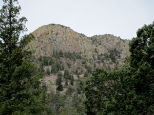 A stack of cliff faces high on Vick's Peak