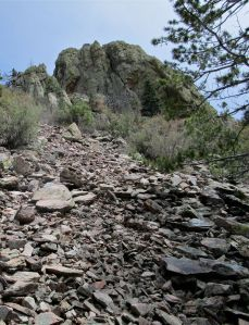 08 fin and rockfall on flanks of Pestle Ridge