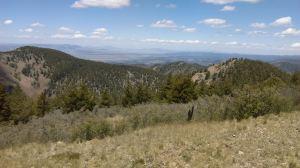 San Mateo Mountain (left), false summit on Vick's Peak (right) and beyond to the San Agustin Plains