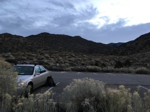A shy, yet mighty Camry poised at the mouth of Embodito Canyon