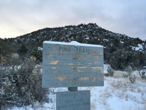 "Trail sign and first ""foothill"" at the mouth of Pino Canyon"