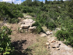 13 trail departs downhill to left of center rock