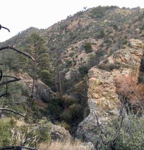 02 an intrusion of hard rock nearly damming Dry Creek