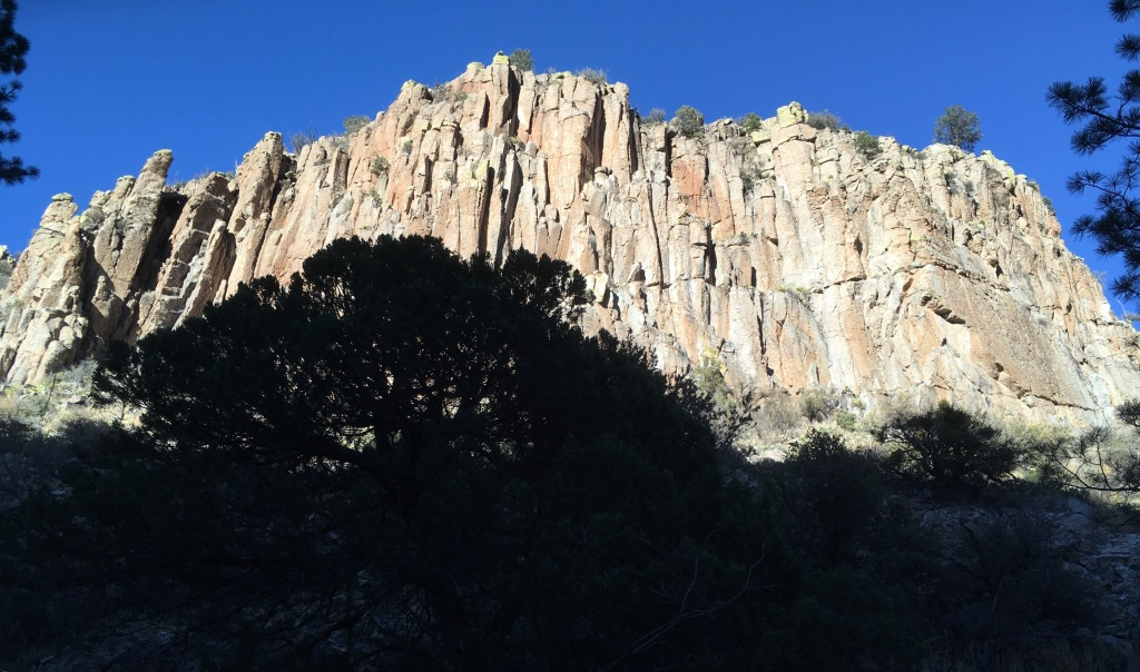 Cold Spring Canyon wall in morning sunshine